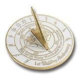 Reloj de sol inglés hecho a mano con versiones de plata, perla, rubí u oro, ideal para aniversario de boda, metal, 1st Anniversary