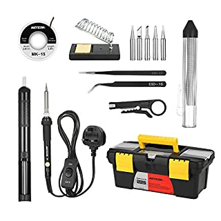 Meterk Soldering Iron Kit 60W Adjustable Temperature Welding Irons Tool Soldering Tips Solder Sucker Desoldering Wick Solder Wire Anti-static Tweezers and Stand with Cleaning Sponge