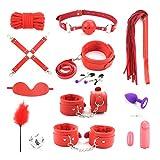 YOTEFUN Bondage Set 13 Stück, Extrem Geiles BDSMS Spielzeug für Heißen Sex, Fesseln, Peitsche, Halsband und Vieles Mehr,