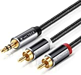 RCA to 3.5mm Phono Cable 2M, Victeck Nylon Braided Phono to 3.5mm Jack RCA Splitter AUX to RCA audio Stereo Y cable Splitter Gold Plated (2M)