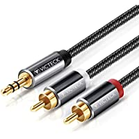 Cable Audio RCA,Victeck Nylon Trenzado 3,5mm Jack Macho a 2 RCA Macho Conectores Estéreo Cable (2m)