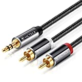 Cinch Kabel,Victeck 3,5mm Klinke auf 2 cinch Y Splitter Stereo Audio Kabel, 2M Nylon Geflochten Kabel,Vergoldet Metall Stecker
