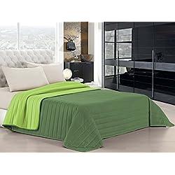 Italian Bed Linen Elegant Trapuntino Estivo, Microfibra, Mela/Verde Scuro, A Una Piazza e Mezza, 220 x 270 cm