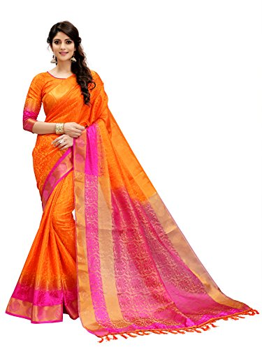 Tagline Women\'s Cotton silk Saree (VTULIGH003ORANGE_ORANGE)
