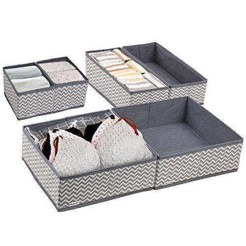 Homfa Aufbewahrungsbox Set Stoff Ordnungsbox Faltbox Stoffbox für Schrank oder Schublade für Unterwäsche Box faltbar flexibel (6x Boxen grau)