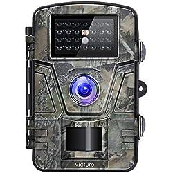 """Victure Caméra de Chasse 12MP 1080P HD Appareil Photo Animaux de Surveillance Infrarouge de Vision Nocturne Grand Angle Avec 2.4"""" LCD à 20M Basse Luminosité"""