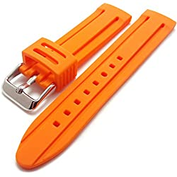 Orange Silicone Rubber Divers Sports Watch Strap Band 20mm