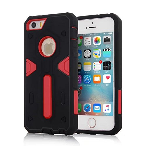 YHUISEN IPhone SE / 5S / 5 Fall, 2 In 1 PC + TPU Dual Layer Armor Hybrid Schutz Schock Absorption Hard Back Cover Case für iPhone SE / 5S / 5 ( Color : Blue ) Red