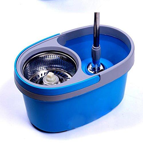 Household Rotary Mop Mop benna piatto Secchio in acciaio inossidabile Rod doppio-driven asciugatura delle mani (Acciaio Inossidabile Benna)