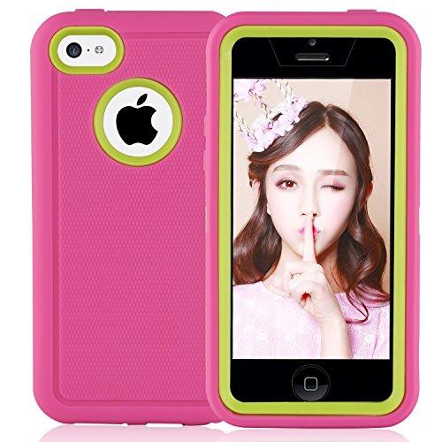 iPhone 5c Hülle : FOGEEK 3in1 Stoßfest Hybrid High Impact Hart PC und Weißhe Silikon Tasche Schutzhülle für iPhone 5c (Weinrot) Rosa + Grün