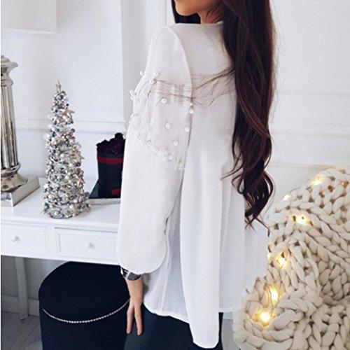 Chemise Femme,Manadlian Tuniques Femmes Hauts Blanc Mousseline de Soie Crop V-Neck Shirt Blouse Perles Loose Blanc