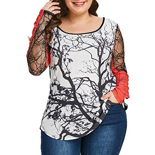 KPPONG Halloween Kostüm Damen Tüll Mesh Drucken Patchwork Bluse Sweatshirt Große GrößenPullover Oberteile Tops - Primark Kostüm