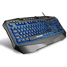 Gaming Tastatur, TeckNet® LED Illuminated Programmierbare Gaming Keyboard, 3 adjustierbare Hintergrundfarben, 10 programmierbare Tasten, Wasserresistente