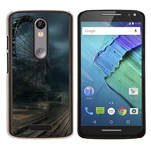 SKCASE centrale/Phonedirectonline-Cover rigida, motivo Winter-Storm rustico, per Motorola Moto X, colore: marrone scuro (3° generazione)
