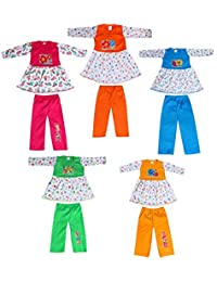 Crazyon Baby Girl's Full Sleeve Frock with Pant Set (Multicolor, 12-24 Months) - Combo Pack of 5