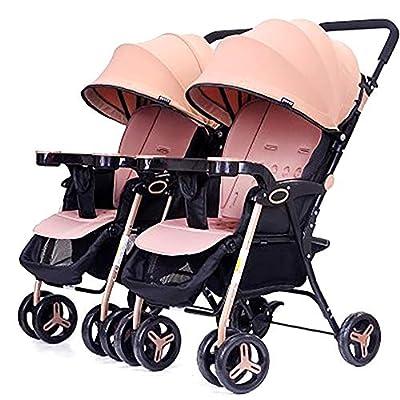zxmpfg Cochecitos gemelos, cochecito de paraguas plegable de viaje ligero y portátil, cochecitos dobles desmontables, asientos reclinables y toldos multifuncionales, adecuados para todas las estacio