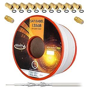 135dB 25m Koaxial SAT Kabel Reines KU Kupfer PRO 5-Fach geschirmt Koax Antennenkabel für DVB-S / S2 DVB-C und DVB-T BK Anlagen + 10x vergoldete F-Stecker UND 2X F-Verbinder Gratis dazu