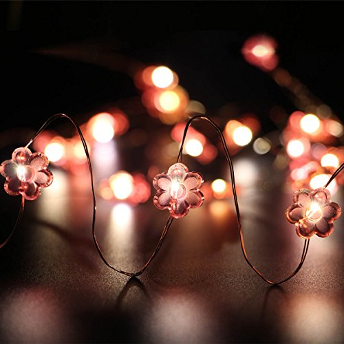 JOJO Lights Set of 4 copper wire Flower - Garlands 7.2ft 20 LED Decor Rope lights for decorative seasonal batteries, Halloween, Christmas, Thanksgiving Day, Weddings & Parties LT035*4