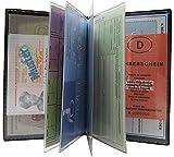 Große elegante Ausweismappe 12 Fächer MJ-Design-Germany Made in EU in Schwarz