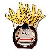 EROSPA® Ring-Fingerhalterung für Smartphone Handy Tablets - Pommes Frites mit Tüte - Haltegriff - Ringhalter gleichzeitig Tisch-Ständer - 360° drehbar- 180° schwenkbar
