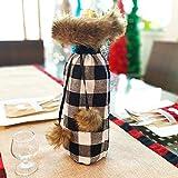 Longzhuo Weinflasche Dekoration Weihnachten Wein Flasche Tasche Rotwein Beutel Weihnachten Geschenkverpackung,Weihnachtskostüm und Weihnachtshut