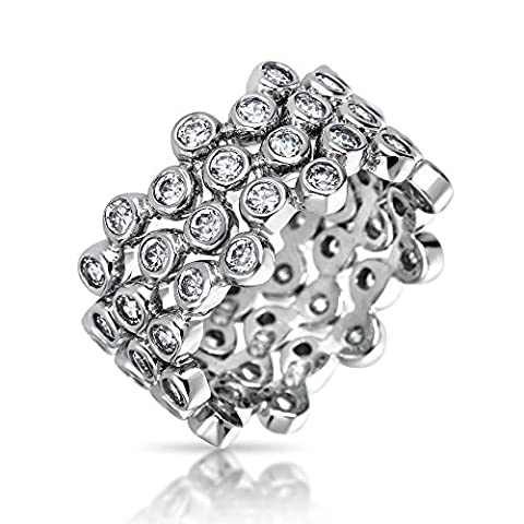 Bling Jewelry Three Stackable Sterling Silver CZ Bubble Band Ring Set