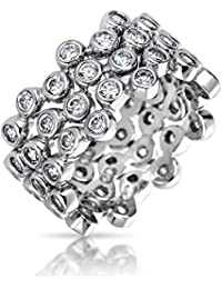 Bling Jewelry Stackable CZ Bubble Band Set Three Sterling Silver Rings