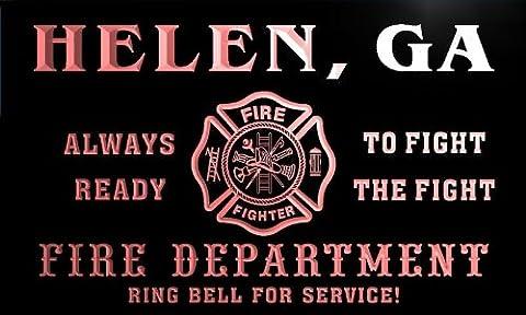 qy52673-r FIRE DEPT HELEN, GA GEORGIA Firefighter Neon Sign