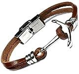 Lufetti Leder Armband Anker Edelstahl Verschluß Länge 21cm kürzbar S2E6 (braun)