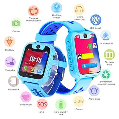 Watch Armbanduhr Wasserdicht | Touchscreen mit Kamera, Live GPS, Telefon, Spiele, Wecker, SOS Notruf usw. | Geschenke für Mädchen Jungen Kinder (Blau) ()