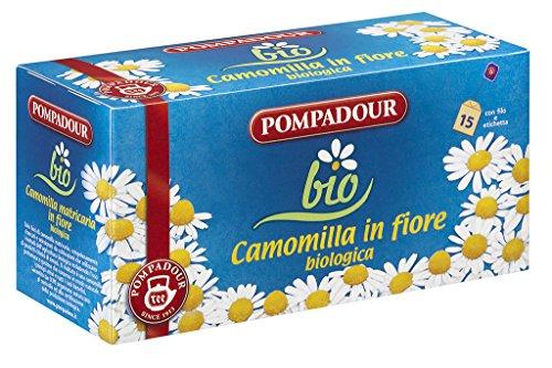 Pompadour Infusione per Bevande Calde, Camomilla in Fiore Biologica - 15 Astuccio