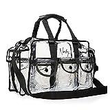 Nanshy klare Tasche für Make-up-Artists, MUA, große Aufbewahrungs- und Reisetasche mit Reißverschluss, Organizer mit Griffen, Seitentaschen, Schultergurt und Fächern, PVC Kunststoff Vinyl