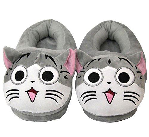 Katze Plüsch-hausschuhe (Unisex Herren und Damen nett Cartoon weichem Frauen Plüsch warme Pantoffeln, Slippers Vier Jahreszeiten Hause Pantoffeln 35-42 (Katze, grau))