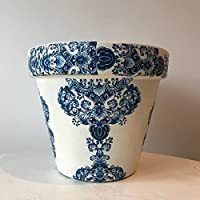 Blue White Damask Terracotta Plant Pot Planter Large 21cm
