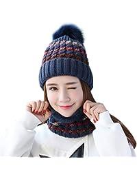 d47402b900f2 TININNA 2 Pièces Ensemble Doublure Polaire Beanie Chapeau Bonnet et  Écharpede Cercle Cache-Col Tour de Cou Femme Fille en Tricot d hiver…