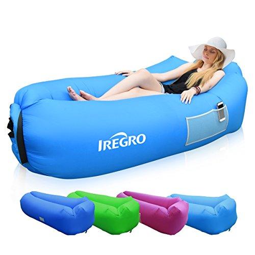 Iregro divano gonfiabile con cuscino incorporato per piscina/spiaggia/cortile
