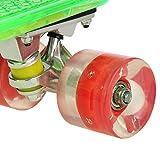 Ancheer Mini-Cruiser-Skateboard 55cm Skateboard mit oder ohne LED Deck,alle mit LED Leuchtrollen,mit USB Kabel aufzuladen,Farbe:Deck in Grün mit LED / Rollen in Rot mit LED -