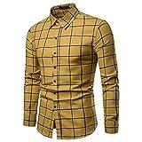 NINGSANJIN Herren Hemd Slim-Fit Langarm-Hemden Freizeit Hochzeit Arbeit Business Muster-Ärmel (Gelb,XL)