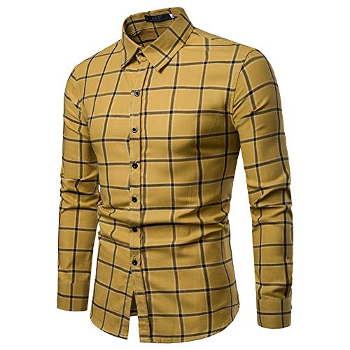 4bc058529902 shemd Herren Shirt Langarmhemd Cowboy-Style Freizeit Hemd männer Kent-Kragen  (Gelb,. herren hemd slim fit langarm weiss schwarz kurzarm kariert regular  ...