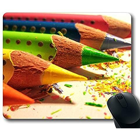 Personalized Custom Gaming Mouse Pad Oblong Shaped Colored Pencils Design