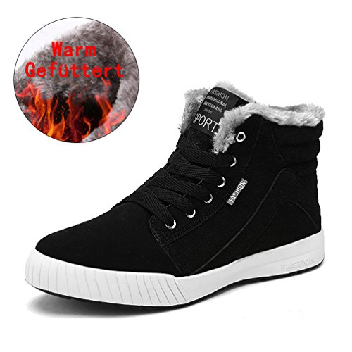 AFFINEST Herren Warm Gefüttert Stiefel Winter Outdoor Sneaker High-Top basketball Turnschuhe Freizeit fuer Unisex-Erwachsene ?schwarz?47Asia/46EU) (Herren Gelb Kostüm Stiefel)