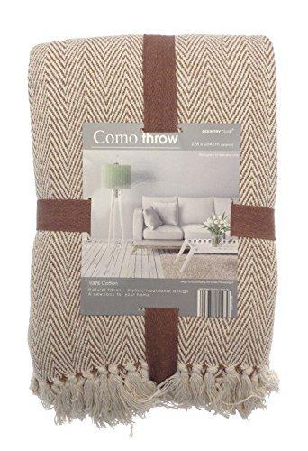 COMO Couvre-Lit 228 x 254 cm pour Grand canapé, Fauteuil et Lit Marron/Beige