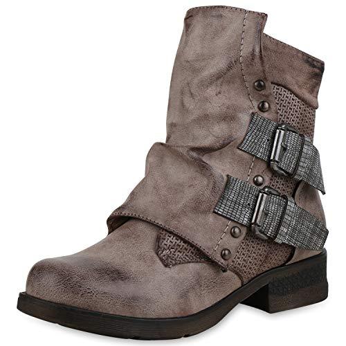 SCARPE VITA Damen Stiefeletten Biker Boots Gefütterte Booties Nieten Schuhe 169970 Khaki Gefüttert 37