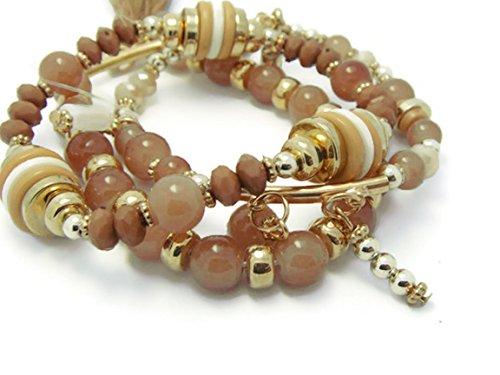 zvace Jewelry Qualität Gold Ton braun Stein Perlen Kristall Charme Elastic Armband, SM6 -