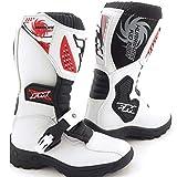 Botas de Motocross para niños FM, Color Blanco