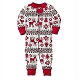 zooarts für 0–18Monaten Baby Mädchen Long Sleeve Weihnachten Deer Print One Piece Body Overall Strampler Outfit Winter Kleidung, Baumwollmischung, multi, 3-6 Monate