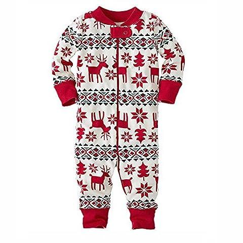 zooarts für 0–18Monaten Baby Mädchen Long Sleeve Weihnachten Deer Print One Piece Body Overall Strampler Outfit Winter Kleidung, Baumwollmischung, multi, 0-3 Monate