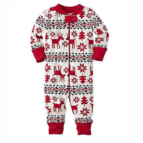 zooarts für 0–18Monaten Baby Mädchen Long Sleeve Weihnachten Deer Print One Piece Body Overall Strampler Outfit Winter Kleidung, Baumwollmischung, multi, 0-3 (Outfits Kleinkinder Für Rentier)