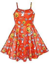 Sunny Fashion Robe Fille Halloween Citrouille Fantôme Costume Réservoir Habiller 4-10 ans