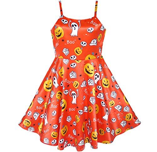 Mädchen Kleid Halloween Kürbis Geist Kostüm Tank Kleiden Gr. 110